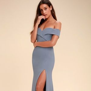 Lulu's - Blue Grey Off-the-Shoulder Maxi Dress